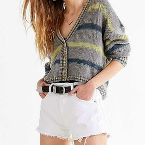 EUC UO Aiden Striped Button Down Cropped Cardigan